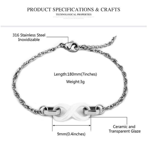 Montebello Armband Chava - Dames - Staal - Keramiek - Infinity - 18cm-10412