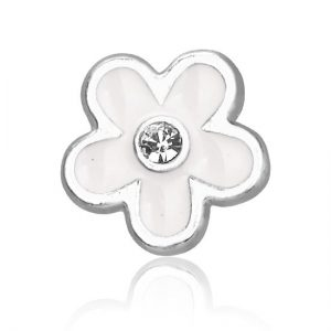 Montebello Bedel Flower White - Dames - Metaal - Emaille - ∅12 mm-0