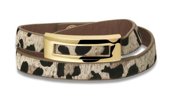 Montebello Armband Kawtar - Dames - Leer - Dierenprint - 37cm-0
