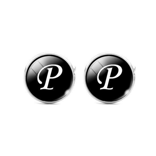 Montebello Manchetknopen Letter P - Heren - Metaal - Glas - Rond - ∅16 mm-0