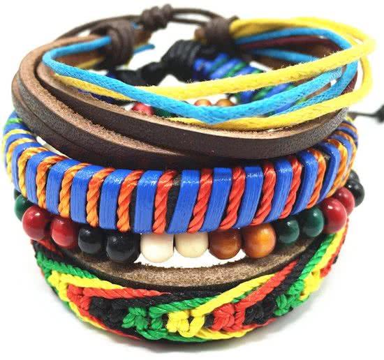 Montebello Armbanden Rho - Unisex - Leer - Kralen - Touw - ∅19 - 23 cm -0