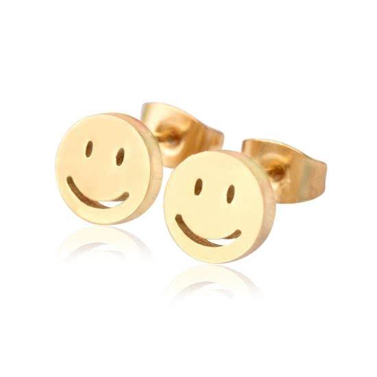 Montebello Oorbellen Smiley - Dames - Staal - Rond - ∅9 mm -0