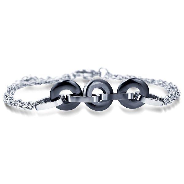 Montebello Armband Uma Black – Dames – 316L Staal – Keramiek - ∅10 mm – 20 cm-0
