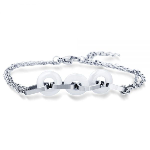 Montebello Armband Uma White – Dames – 316L Staal – Keramiek - ∅10 mm – 20 cm-0