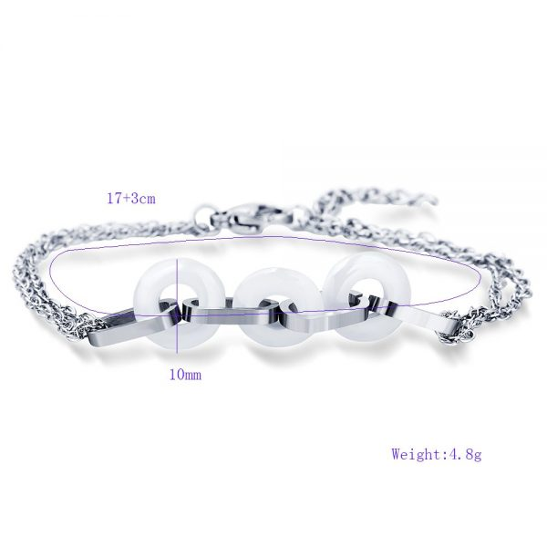 Montebello Armband Uma White – Dames – 316L Staal – Keramiek - ∅10 mm – 20 cm-10450