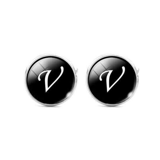 Montebello Manchetknopen Letter V - Heren - Metaal - Glas - Rond - ∅16 mm-0