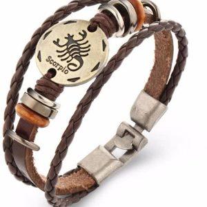 Montebello Armband Schorpioen - Unisex - Leer - Horoscoop - 22 cm-0