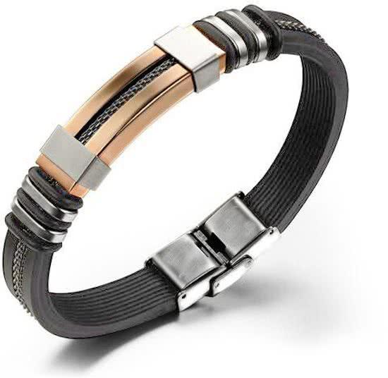 Montebello Armband Malens Rosé - 316L Staal - Siliconen - 20.5cm-0