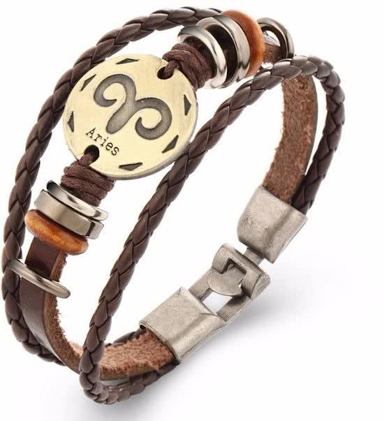 Montebello Armband Ram - Unisex - Leer - Metaal - Horoscoop - 20 cm-0