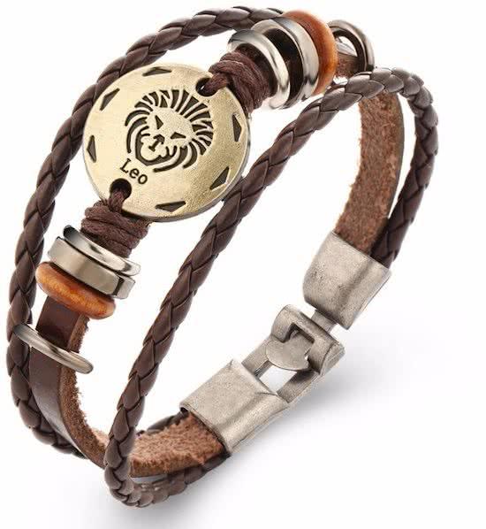 Montebello Armband Leeuw - Unisex - Leer - Metaal - Horoscoop - 20 cm-0