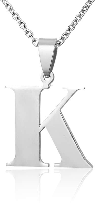 Montebello Ketting Letter K - Unisex - 316 Staal - Alfabet - 21 x 30 mm - 50 cm-0