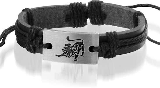 Montebello Armband Leeuw - Unisex - Leer - Metaal - Horoscoop-0