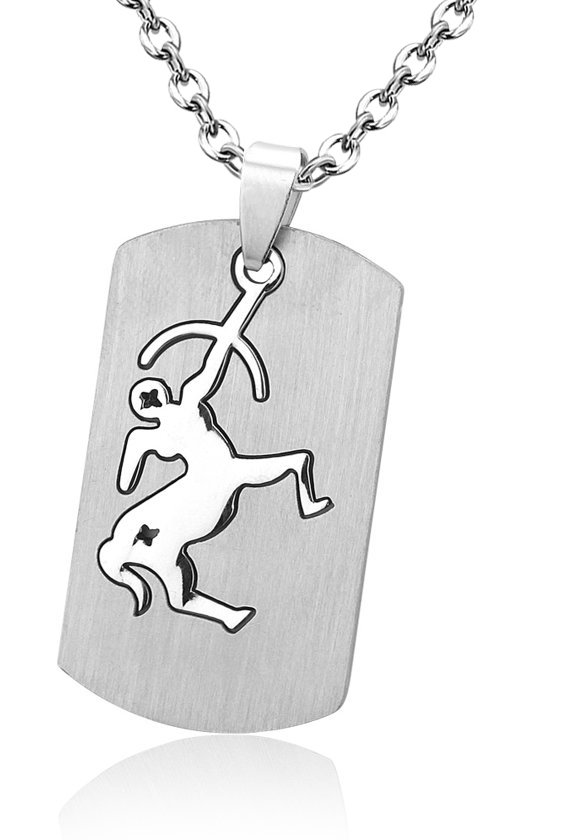 Montebello Ketting Boogschutter - Unisex - 316L Staal - Horoscoop - Dogtag - 50 x 22 mm - 50 cm-0