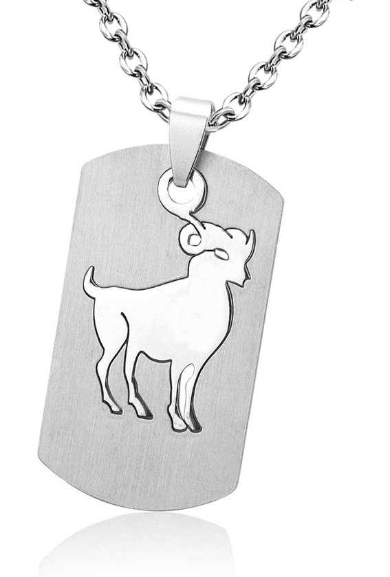 Montebello Ketting Ram - Unisex - 316L Staal - Horoscoop - Dogtag - 50x22mm - 50cm-0