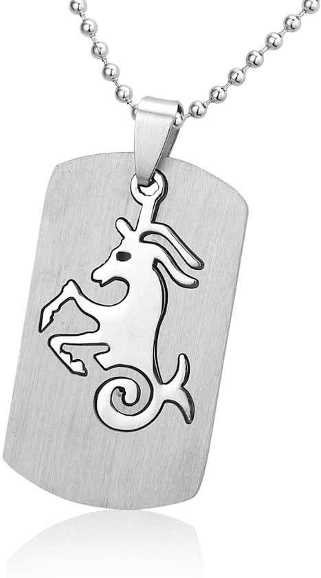 Montebello Ketting Steenbok - Unisex - 316L Staal - Horoscoop - Dogtag - 50 x 22 mm - 50 cm-11239
