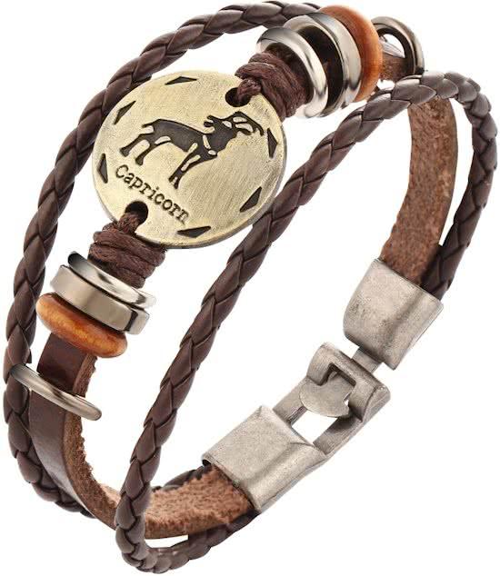 Montebello Armband Steenbok - Leer - Metaal - Horoscoop - 22cm-0