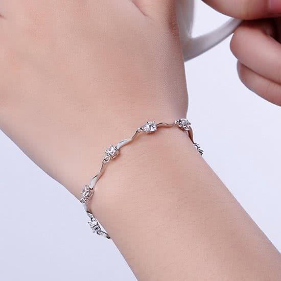 Montebello Armband Apluda - Verzilverd - Zirkonia - 17+3cm-11084