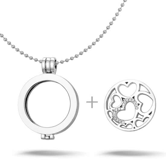 Montebello Ketting Aleta - Dames - Staal – Messing - Zirkonia - ∅35 mm – Coin - 3-delig - 80 cm-10978