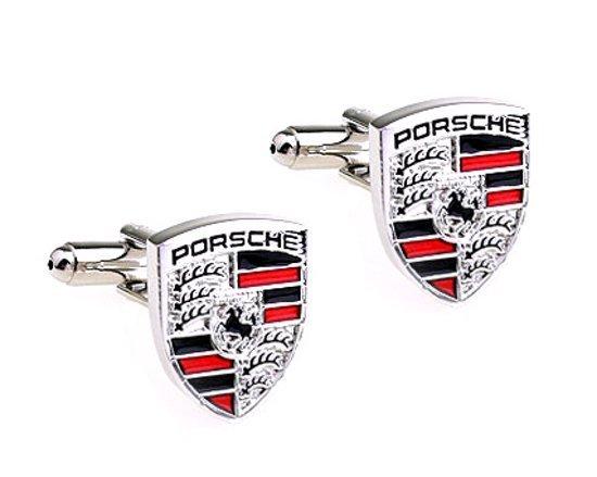 Montebello Manchetknopen Porsche - 316L Staal - Autologo - 15x18mm-0