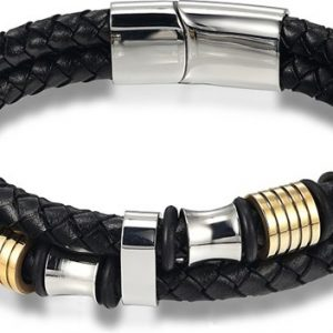 Montebello Armband Skabal Gold - Unisex - Staal - Leer - Zwart - ∅21 cm-0