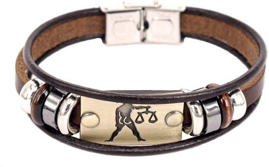 Montebello Armband Weegschaal - Unisex - Leer - Staal - 21 cm-0