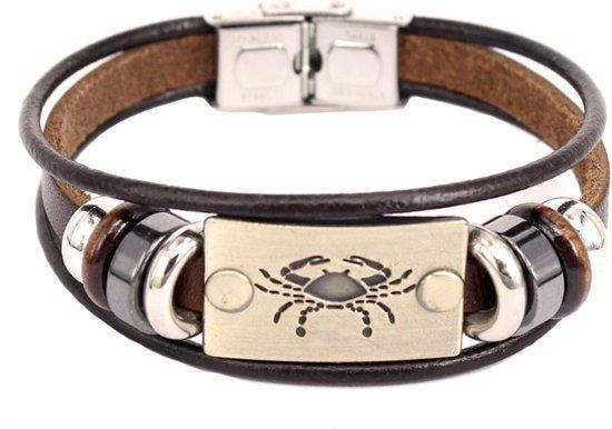 Montebello Armband Kreeft - Unisex - Leer - Staal - Horoscoop - 19 cm-0