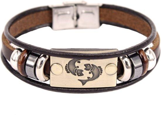 Montebello Armband Vissen - Unisex - Leer - Staal - Horoscoop - 20 cm-0