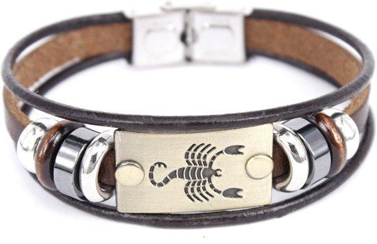 Montebello Armband Schorpioen - Unisex - Leer - Staal - 18 cm-0
