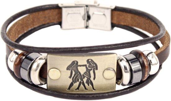 Montebello Armband Tweeling - Leer - Messing - Staal - Horoscoop - 19cm-0