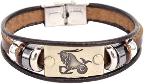 Montebello Armband Steenbok - Unisex - Leer - Horoscoop - 19cm-0