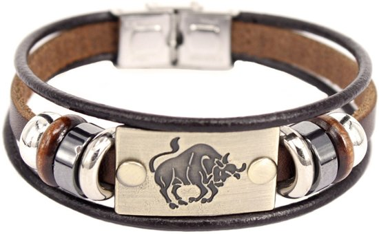 Montebello Armband Stier - Unisex - Leer - Staal - Horoscoop - 19 cm-0