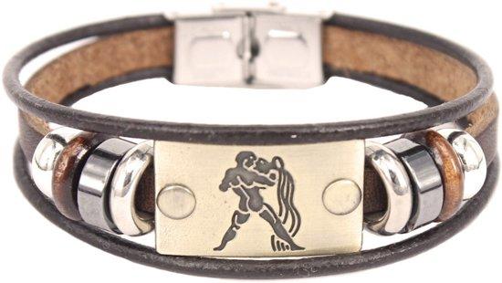 Montebello Armband Waterman - Unisex - Leer - Messing - Staal - Horoscoop - 19 cm-0