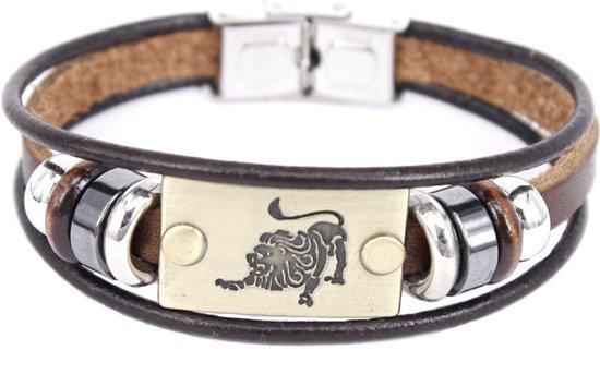 Montebello Armband Leeuw - Unisex - Leer - Messing - Staal - Horoscoop - 19 cm-0