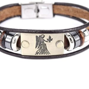 Montebello Armband Maagd - Unisex - Leer - Staal - Horoscoop - 19 cm-0