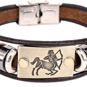 Montebello Armband Boogschutter - Unisex - Leer - Messing - Staal - Horoscoop - 19 cm-0