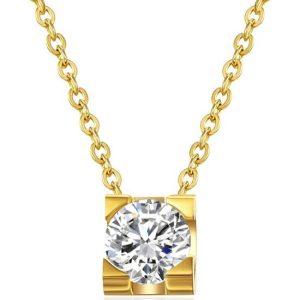 Montebello Ketting Aruna Gold - Dames - 316L Staal PVC - Zirkonia - ∅5 mm - 40 + 5 cm-0