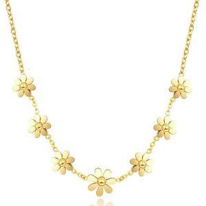 Montebello Ketting Arzou Gold - Dames - 316L Staal PVC - Bloem - 40 + 5 cm-0