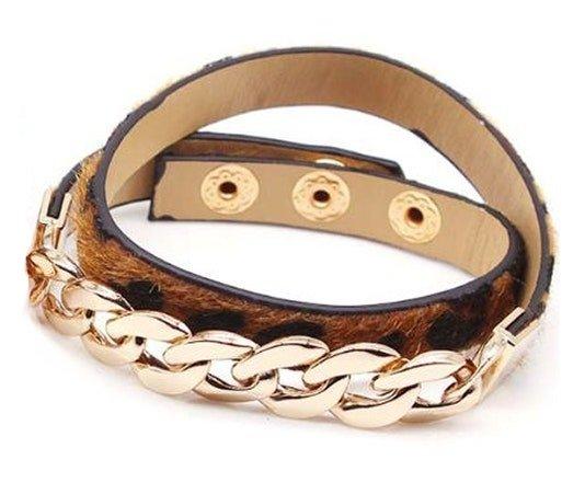 Montebello Armband Abia - Dames - Leer - Messing Ketting - Dierenprint - 44cm-25895