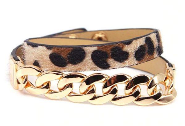 Montebello Armband Abia - Dames - Leer - Messing Ketting - Dierenprint - 44cm-0
