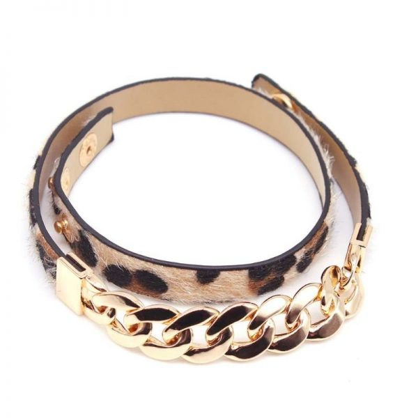 Montebello Armband Abia - Dames - Leer - Messing Ketting - Dierenprint - 44cm-25898
