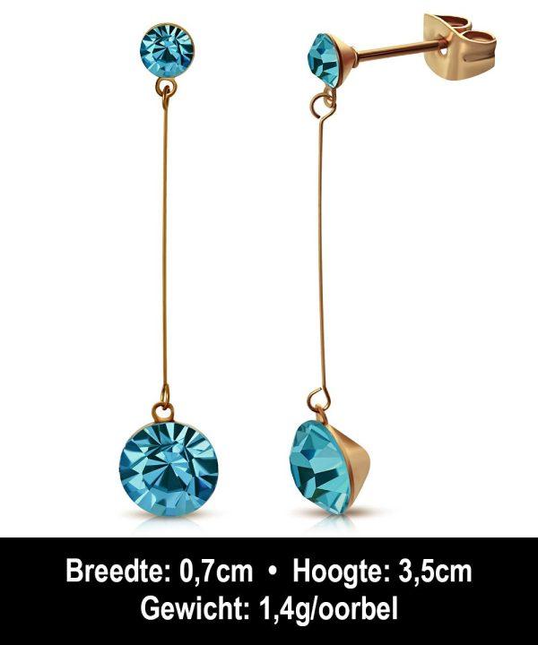 Montebello Oorbellen Arisa EBX068 - Dames - 316L Staal Rosé PVC - Zirkonia - ∅ 4 en 7 mm - 35 mm-12246
