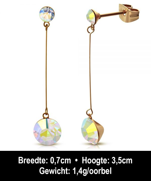 Montebello Oorbellen Arisa EBX077 - Dames - 316L Staal Rosé PVC - Zirkonia - ∅ 4 en 7 mm - 35 mm-12234