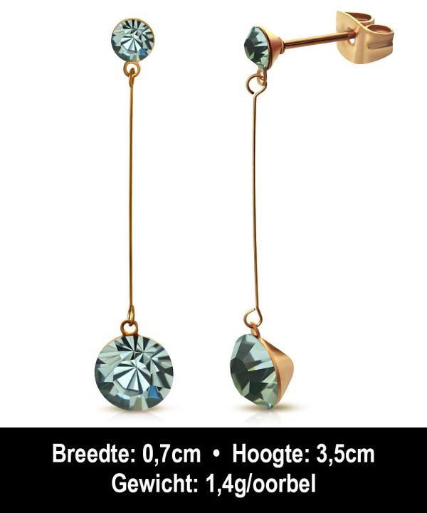 Montebello Oorbellen Arisa EBX079 - Dames - 316L Staal Rosé PVC - Zirkonia - ∅ 4 en 7 mm - 35 mm-12232