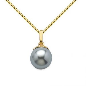 Montebello Ketting Bendy - Dames - 925 Zilver Verguld - Parel - 10 x 16 mm - 45 cm-0