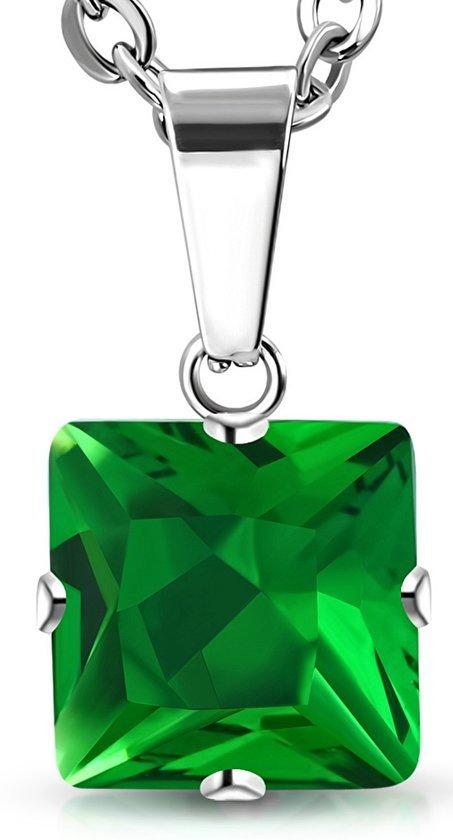 Montebello Ketting Avira Green- Dames - 316L Staal PVC - Zirkonia - ∅8 mm - 45 cm-0