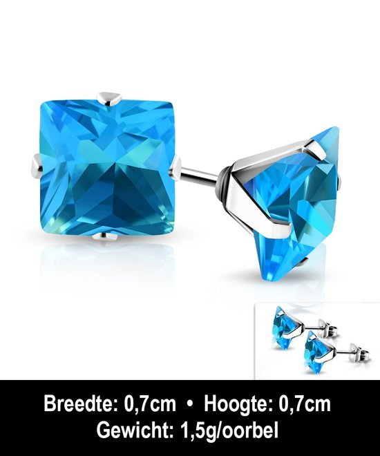 Montebello Oorbellen Avira Blue O - Dames - 316L Staal PVC - Zirkonia - ∅6 mm -11339