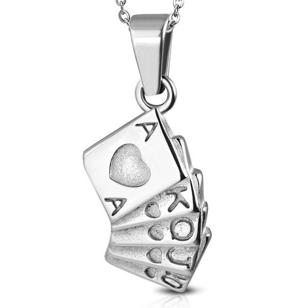 Amanto Ketting Amon - Heren - 316L Staal - Spel - Poker - 50 cm-0