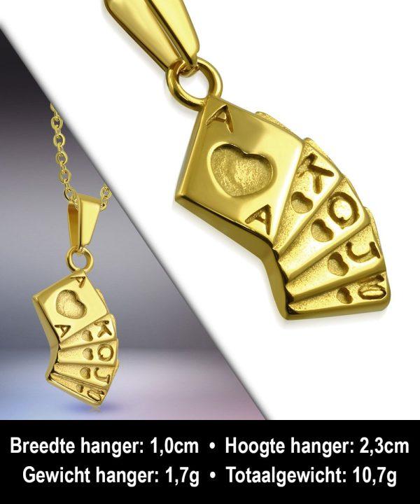 Amanto Ketting Amon Gold - Heren - 316L Staal - Spel - Poker - 56 cm-11997
