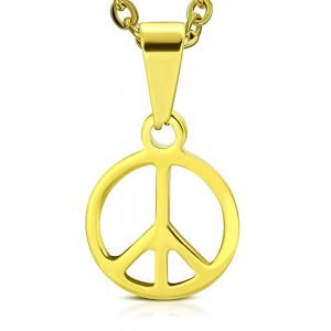 Amanto Ketting Allard - Heren - 316L Staal - Rond - Peace - 56 cm-0