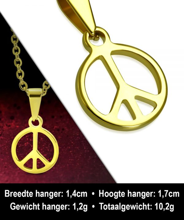 Amanto Ketting Allard - Heren - 316L Staal - Rond - Peace - 56 cm-11897